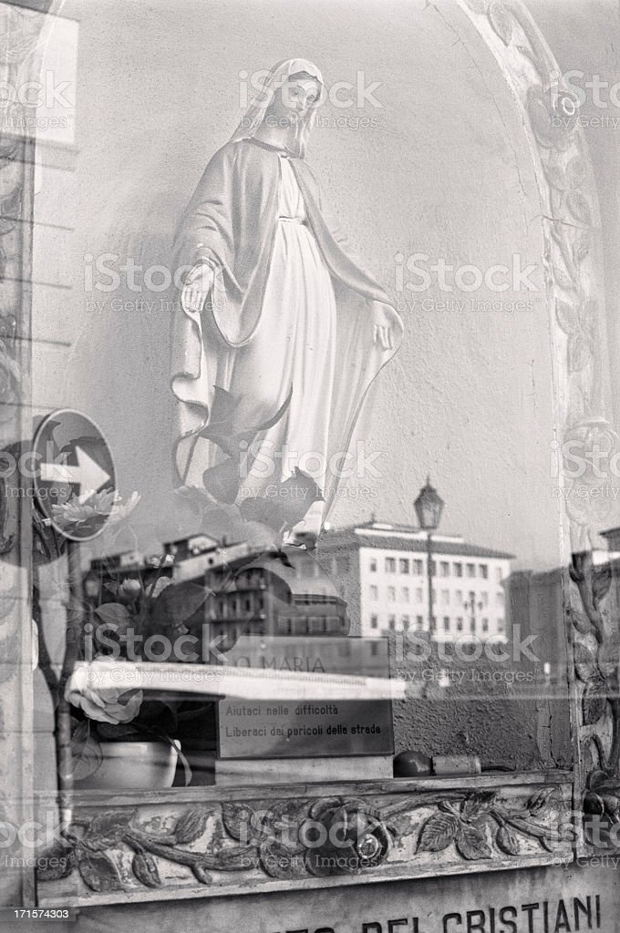 Holy Mary to protect drivers, traditional Italian icon stock photo