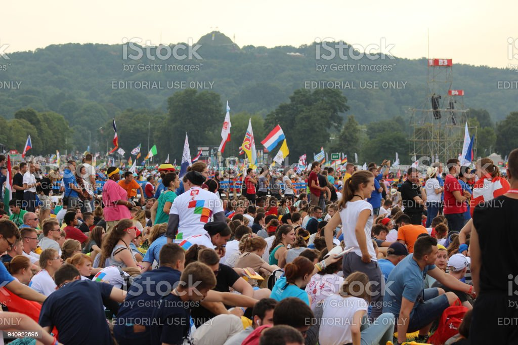 Holy mass with the pope during World Youth Day stock photo
