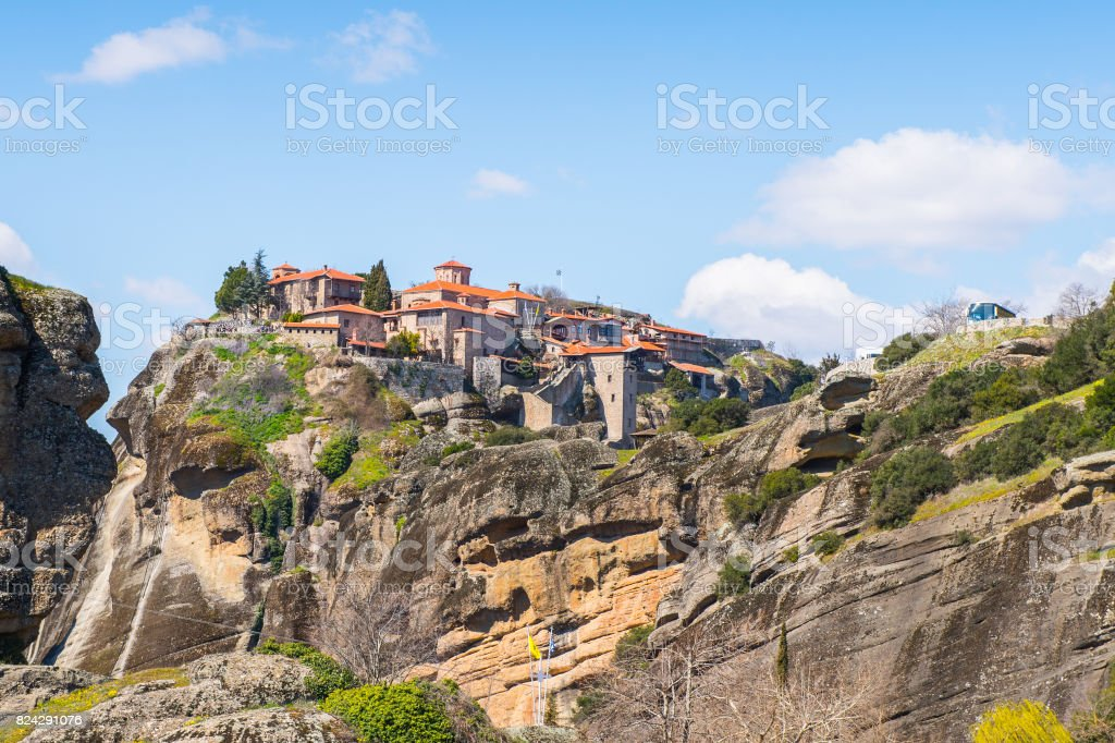 Holy Monastery of Varlaam in Meteora mountains, Thessaly, Greece.  UNESCO World Heritage List stock photo