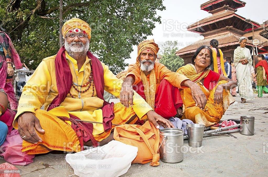 Holy Sadhues  with traditional blessing in Kathmandu, Nepal. stock photo