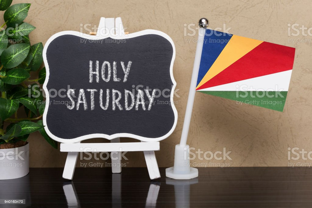 Holy Saturday, -Holiday  in Seychelles stock photo