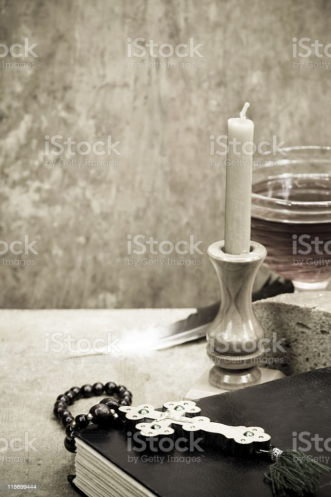 Holy Scriptures, candle and vine stock photo