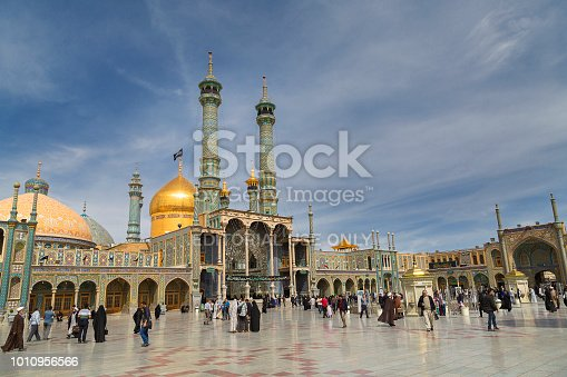 Qom, Iran - April 11, 2018: People visit the Holy Shrine of Lady Fatima Masumeh, in Qom, Iran. Lady Fatima Masumeh was the sister of Imam Reza, one of the twelve imams in Islam.