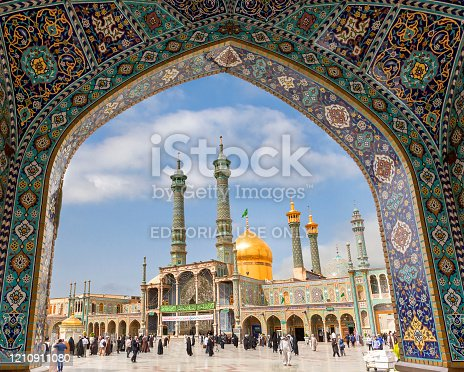 Qom, Iran - April 16, 2019: Local  people at the Holy Shrine of Lady Fatima Masumeh, in Qom, Iran