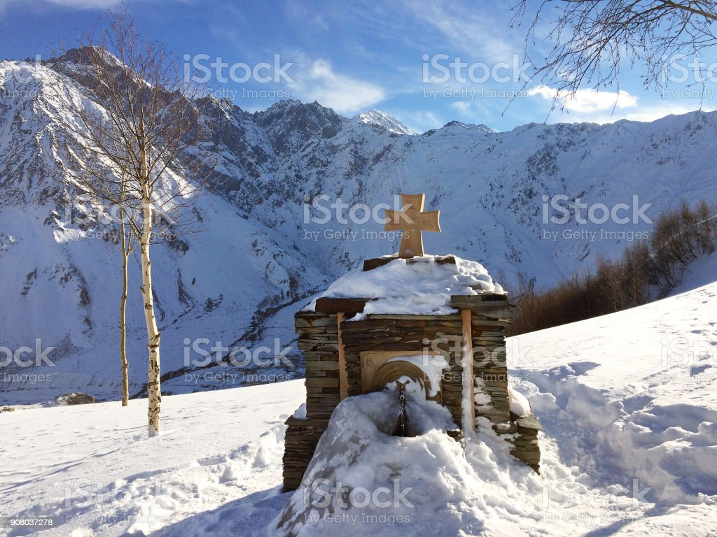 Holy Source of the Church of the Holy Trinity. Gergeti, Georgia. stock photo