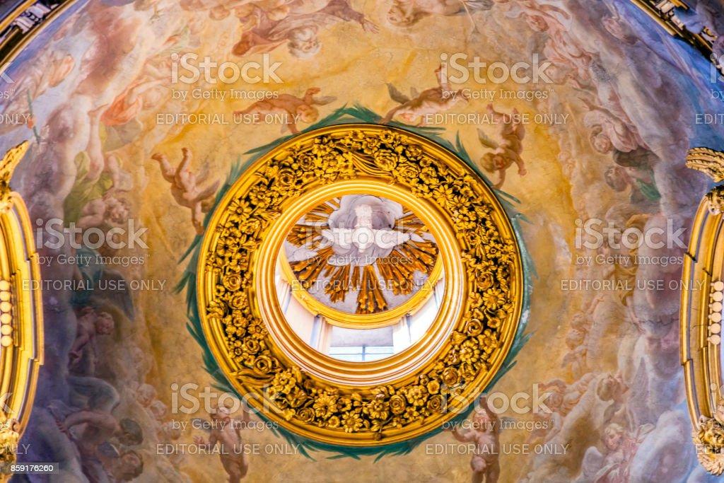 Holy Spirit Fresco Dome Ceiling Santa Maria Maddalena Church Rome Italy stock photo