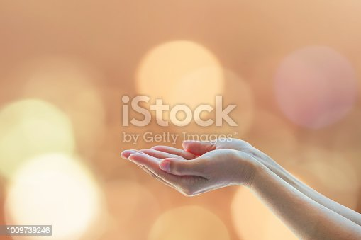 istock Holy spirit week, world religion day concept with women prayer's hands praying for peace 1009739246