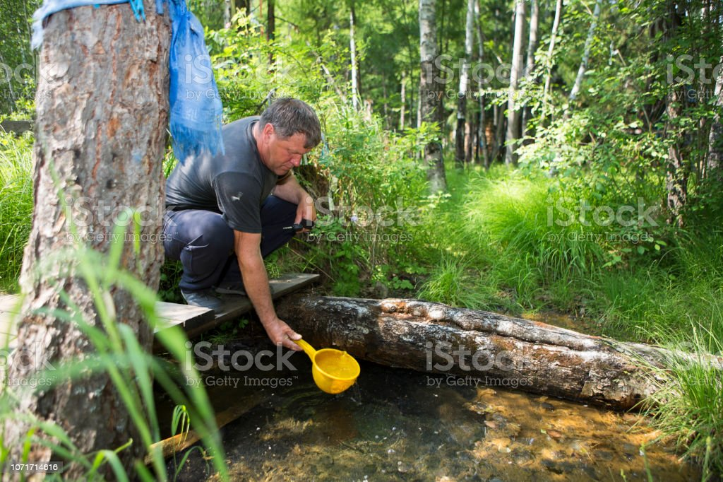 A holy spring of water with medicinal properties stock photo