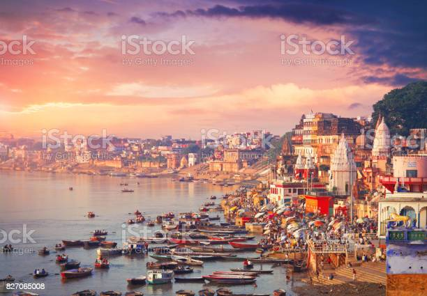 Holy town Varanasi and bank of the Ganges river with ghats