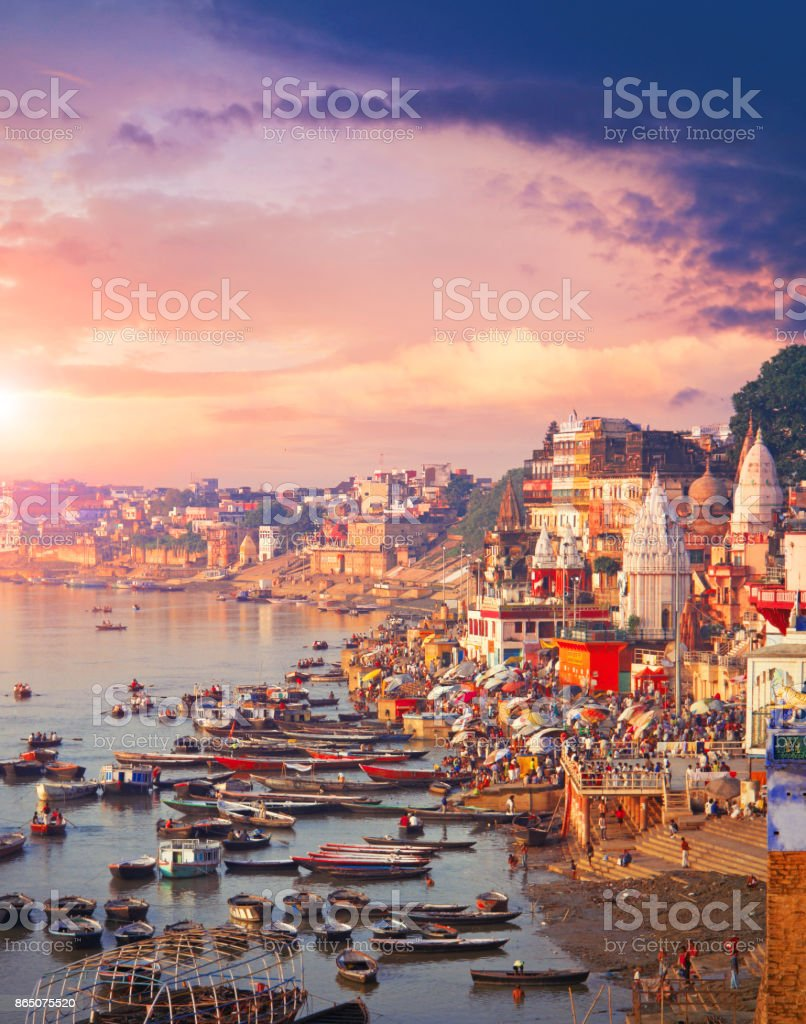 Holy town Varanasi and the river Ganges stock photo