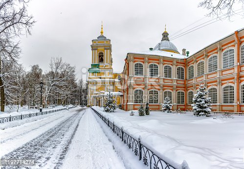 Alexander Nevsky Lavra. St. Petersburg. Russia. 10.01.2019. Holy Trinity Cathedral and Theodore Corps.