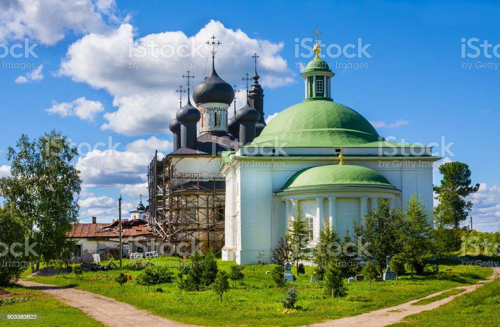 Holy Trinity Church and cathedral Christ Resurrection at the Goritsy Monastery of Resurrection Vologda region, Russia stock photo