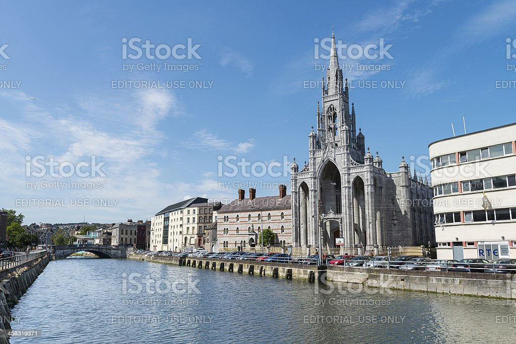 Holy Trinity Church, Cork with Parliament Bridge in the distance stock photo