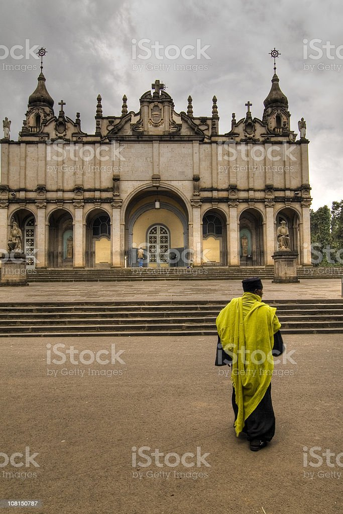 Holy Trinity Church with Orthodox Priest stock photo