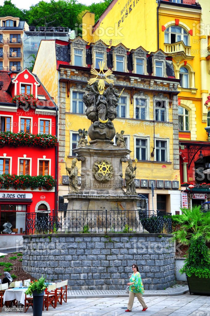 Holy Trinity Column (Plague Column) in Market Square in Karlovy Vary, Czech Republic. stock photo