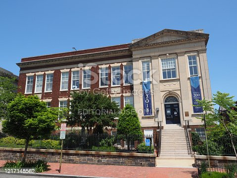 Washington DC, USA - June 4, 2019: Image of the Holy Trinity School in Georgetown.