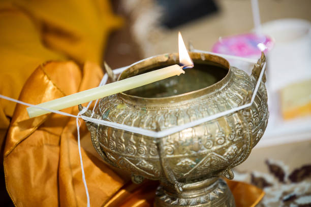 holy water in wedding ceremony.thai wedding object. - religious celebration stock photos and pictures