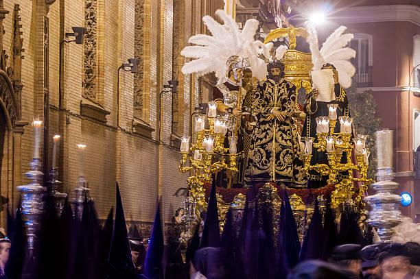 holy week in seville, christ of the judgement - easter procession spain bildbanksfoton och bilder