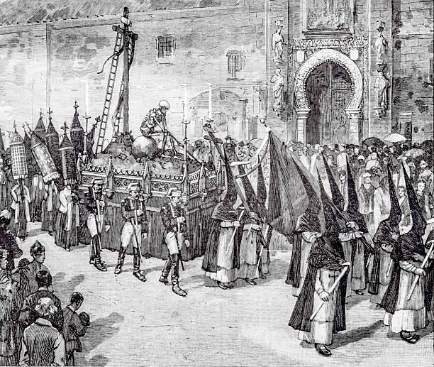 holy week in seville - easter procession spain bildbanksfoton och bilder