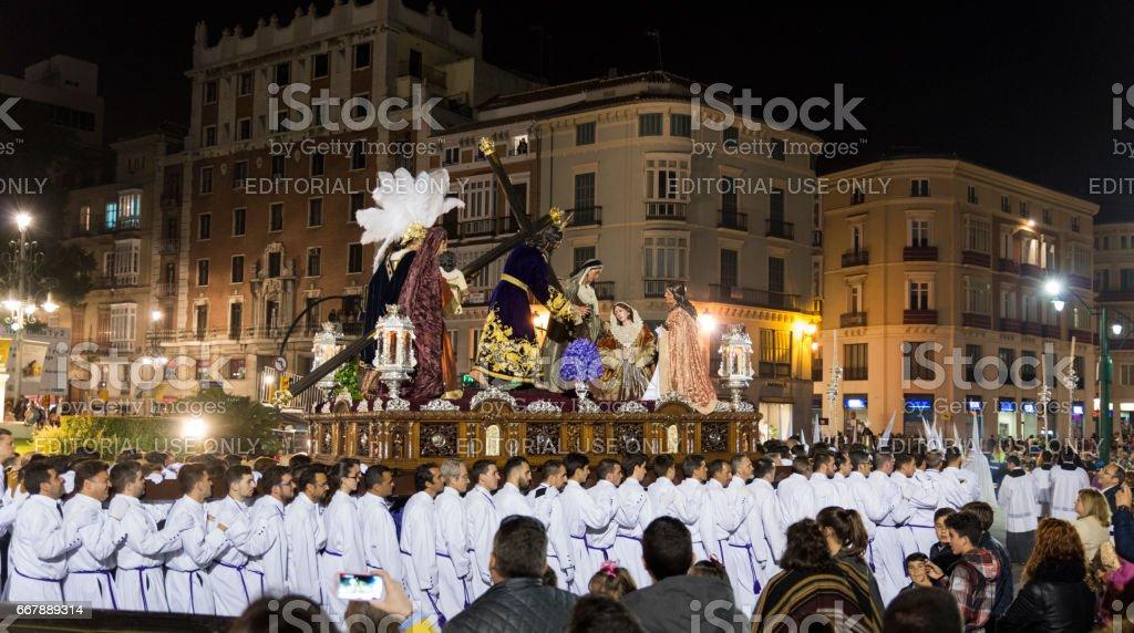 Semana Santa Málaga 2017 night stock photo