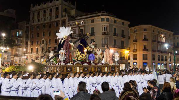 semana santa málaga 2017 natt - easter procession spain bildbanksfoton och bilder