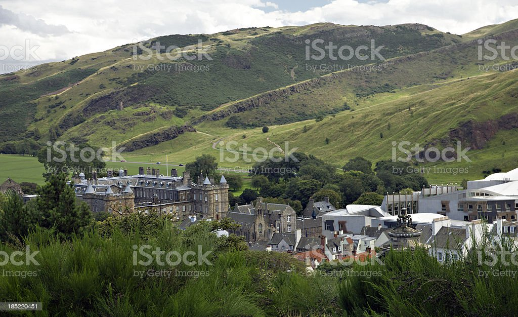 Holyrood Palace and Arthur's Seat stock photo