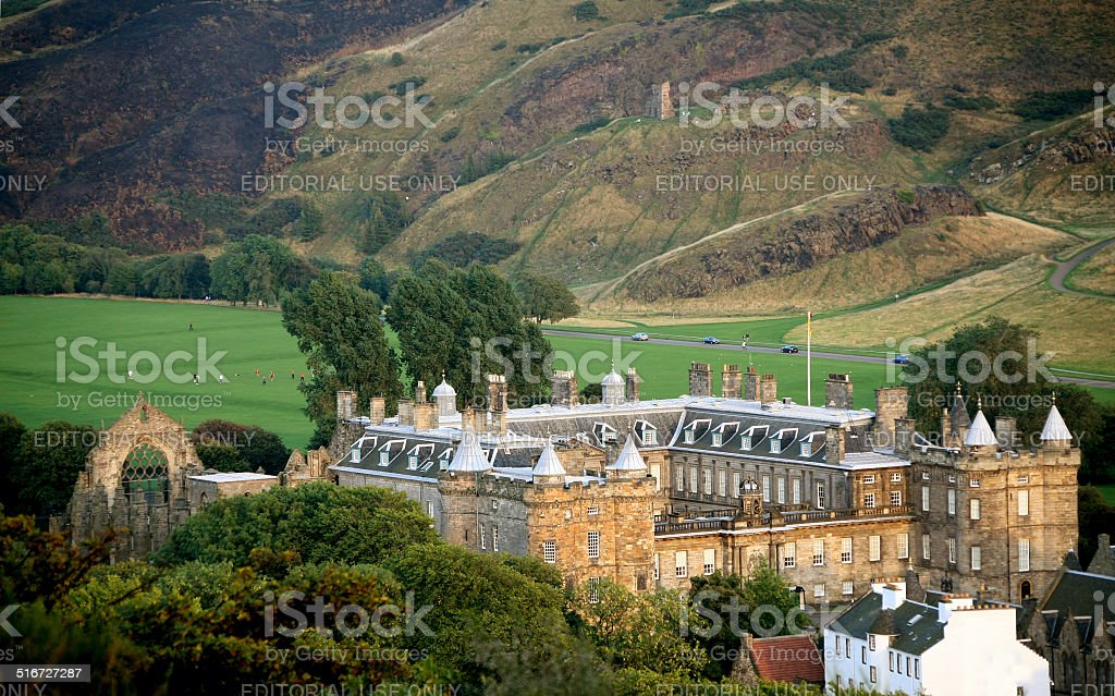 Holyrood Palace and park, Edinburgh stock photo