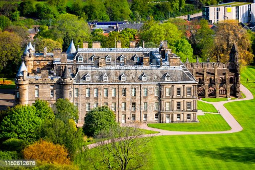 Edinburgh, United Kingdom - May 13, 2019:Holyrood Palace in Edinburgh, Scotland. Officially known as The Palace of Holyroodhouse, it has been the official residence of the Scottish kings and queens since the 15th Century