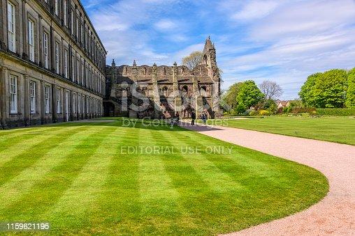 Edinburgh, Scotland - May 12, 2019:  Manicured landscaped grounds of the Holyrood Palace in Edinburgh.