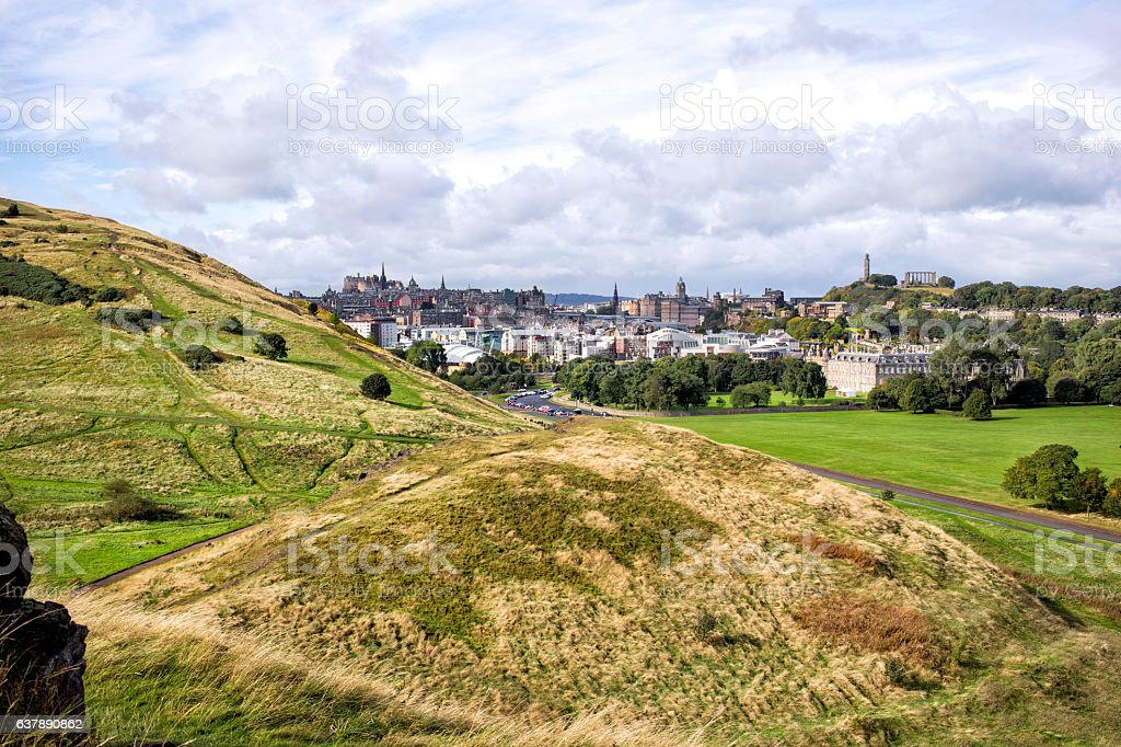 Holyrood park and Edinburgh city, Scotland stock photo