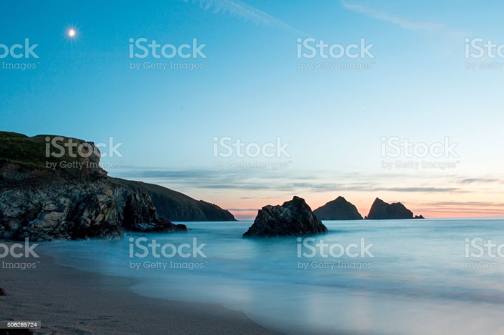Holywell bay near Newquay in Cornwall stock photo
