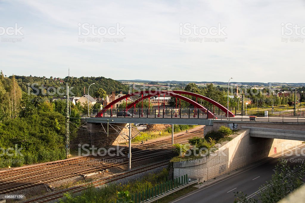 Holzbruecke in Werdau crossing over rail tracks and the Westtrasse stock photo