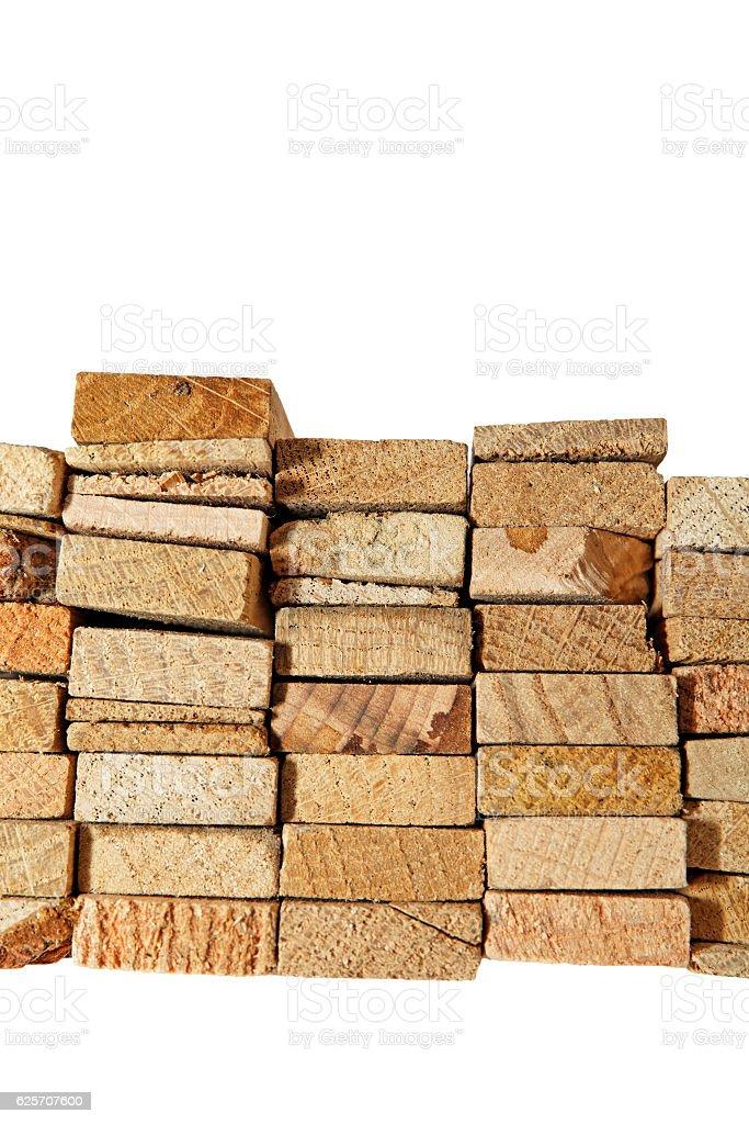 Holzstabel isoliert auf weiß stock photo