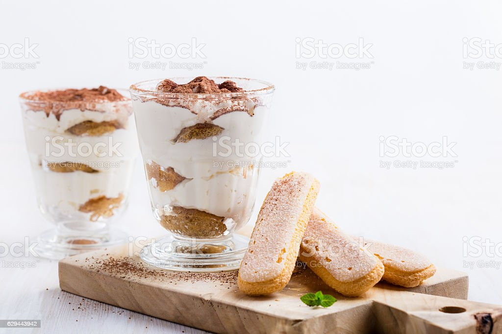 Homamade tiramisu, traditional Italian dessert stock photo