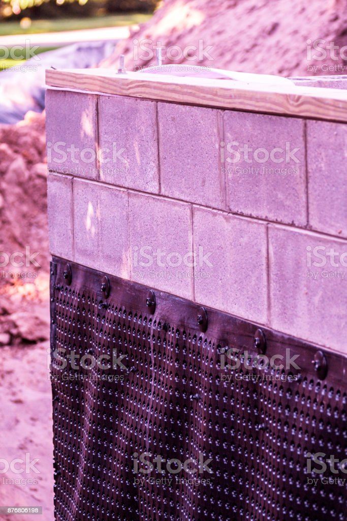 Home Addition Construction Project Basement Plastic Waterproofing Shroud stock photo
