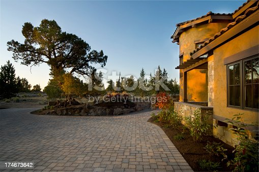 This adobe home was taken in the evening at sunset.