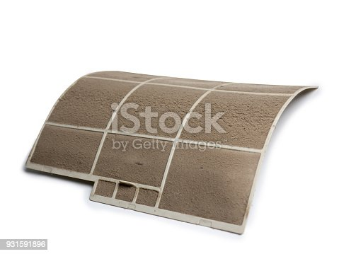 931591820 istock photo Home air conditioner's filter choke with fully of dust, dirty filter isolated on white background and clipping path. 931591896