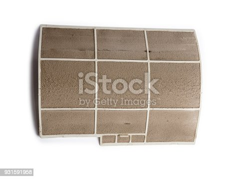 931591820 istock photo Home air conditioner's filter choke with fully of dust, dirty filter isolated on white background and clipping path. 931591958