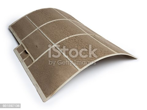 931591820 istock photo Home air conditioner's filter choke with fully of dust, dirty filter isolated on white background and clipping path. 931592136