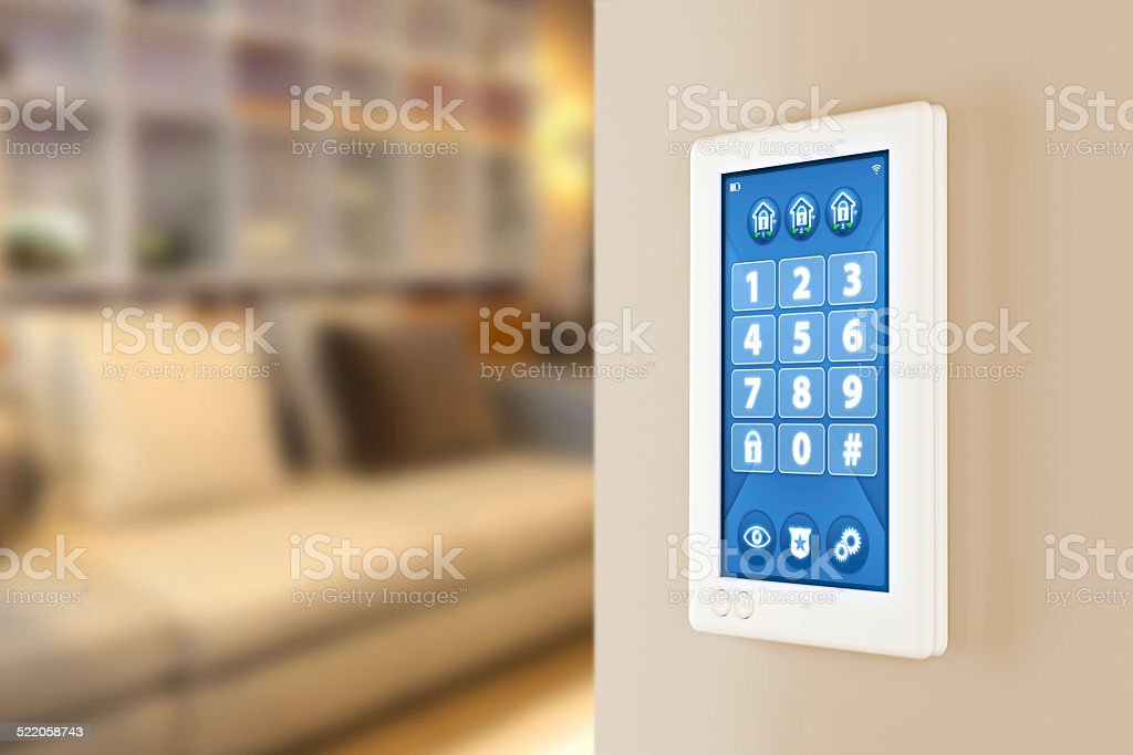 Home  alarm system: PIN code number wall keypad stock photo