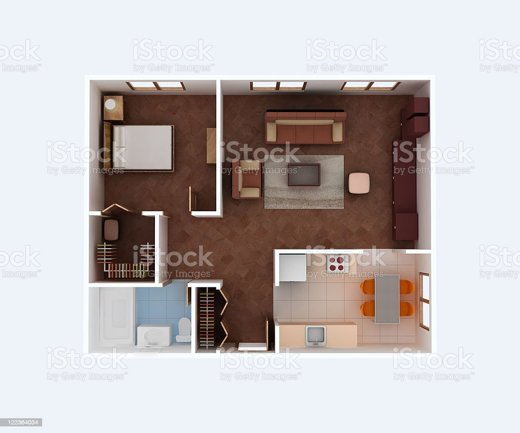Home Apartment Grundriss Sozialwohnung 3dmodell Stockfoto ...