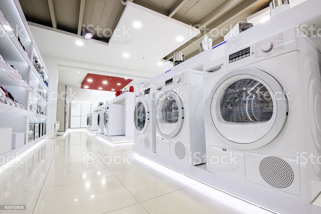 Home appliance in the store showroom stock photo