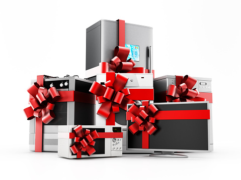 Home appliance set wrapped with ribbons