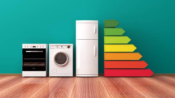 huistoestellen en energieproductiviteitsscijfer. 3d illustratie - huishoudelijk apparaat stockfoto's en -beelden