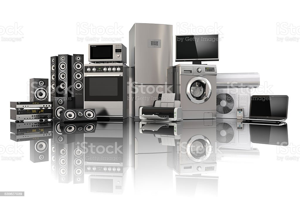 Home appliances. Cooker, tv, refrigerator air conditioner, washing machine stock photo