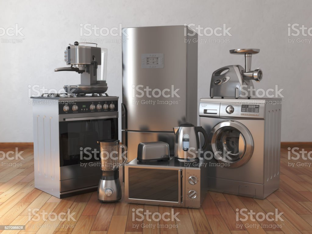 Home appliances. Household kitchen technics in the empty room stock photo