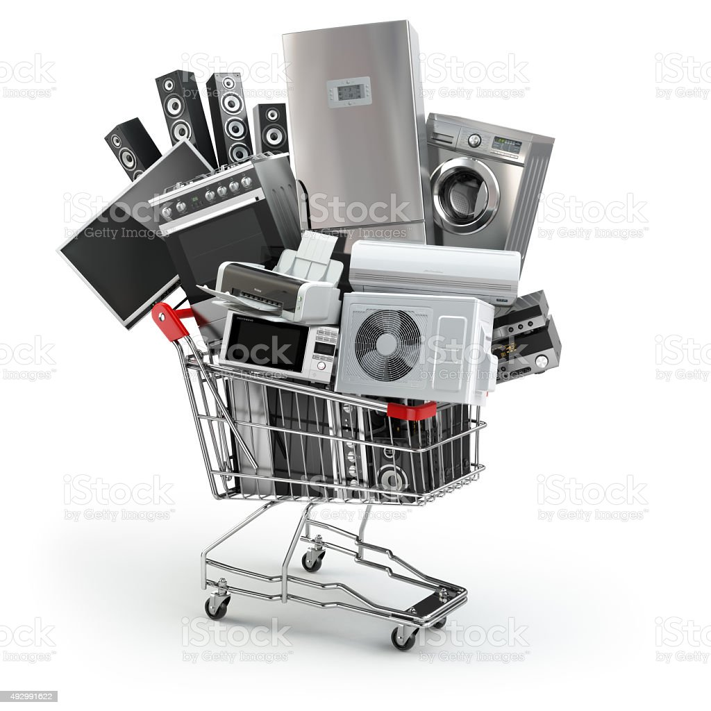 Home appliances in the shopping cart. E-commerce or online shopp stock photo