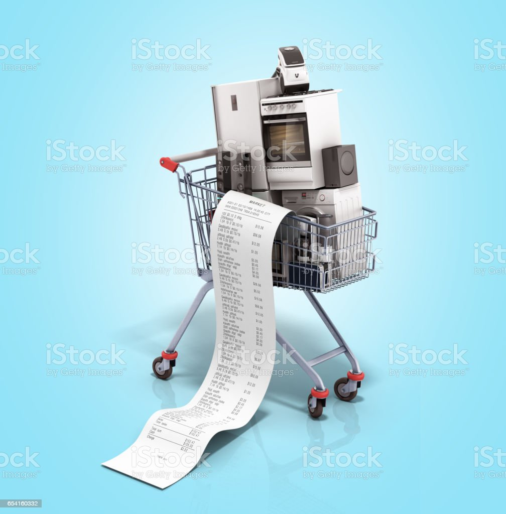 Home appliances in the shopping cart E-commerce or online shopping stock photo
