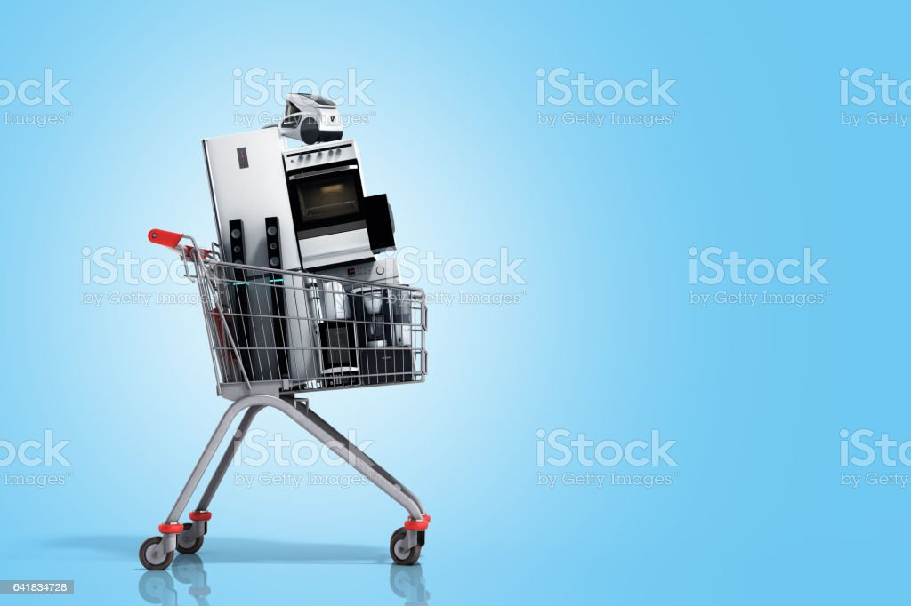 Home appliances in the shopping cart E-commerce stock photo