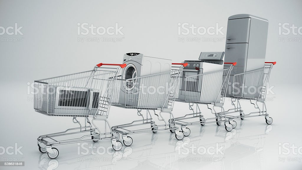 Home appliances in the shopping cart stock photo